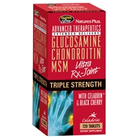 Triple Strength Ultra Rx-Joint Tablets - Glucosamine / Chondroitin / MSM w/Celadrin & Black Cherry - 120 Count Bottle (30 Servings) - Natures Plus
