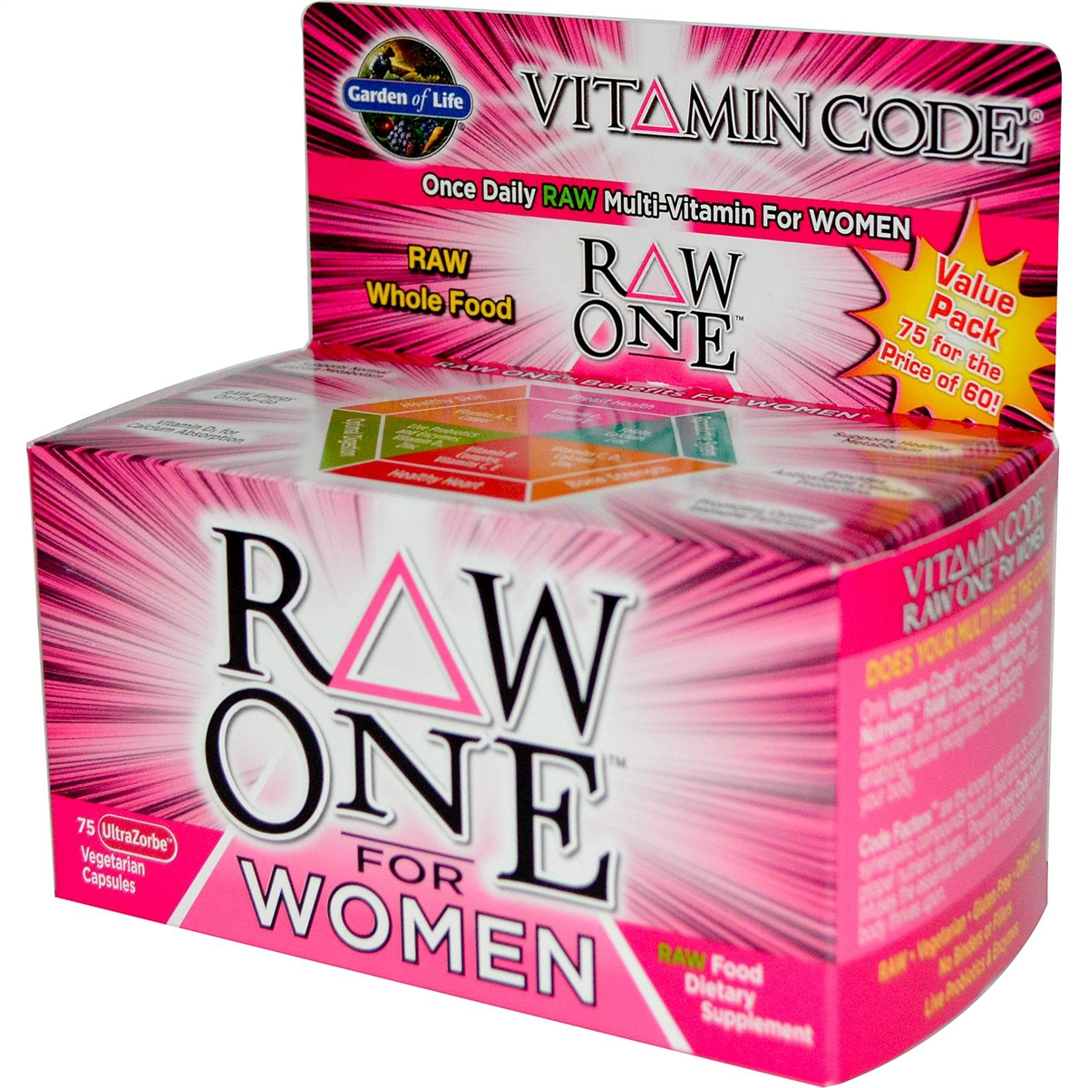 raw vitamin garden life women vegetarian for of by capsules code one