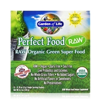 Perfect Food RAW Organic Green Super Food Powder - 15 Packets (8g Each) - Garden of Life