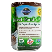 Perfect Food RAW Organic Green Super Food Powder Chocolate Cacao - 20 oz (570g) - Garden of Life