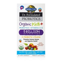 Dr. Formulated Probiotics Organic Kids+ 5 Billion CFU Organic Berry Cherry - 30 Chewables - Garden of Life