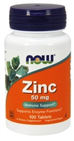 Zinc 50 mg   100 Tablets   NOW
