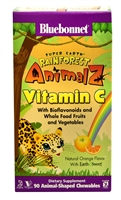 Super Earth Rainforest Animalz Vitamin C Natural Orange - 90 Chewables - Bluebonnet Nutrition