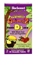 Super Earth Rainforest Animalz Vitamin D3 Mixed Berry - 400 IU - 90 Chewable Tablets - Bluebonnet Nutrition