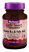 EarthSweet Chewables Vitamin B12 & Folic Acid Natural Raspberry - 90 Chewable Tablets - Bluebonnet Nutrition