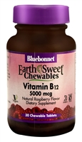 EarthSweet Chewables Vitamin B12 Natural Raspberry - 5000 mcg - 30 Chewable Tablets - Bluebonnet Nutrition
