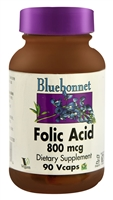 Folic Acid - 800 mcg - 90 Vcaps - Bluebonnet Nutrition