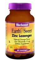 EarthSweet Zinc Lozenges Natural Orange - 15 mg - 60 Lozenges - Bluebonnet Nutrition
