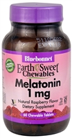 EarthSweet Chewables Melatonin Raspberry - 1 mg - 60 Chewable Tablets - Bluebonnet Nutrition