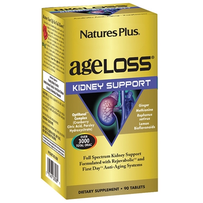 AgeLoss Kidney Support Tablets - 90 Count Bottle (30 Servings) - Natures Plus