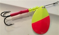 "Size 5 B-10 Series Spinner/Flame Red/Chartruese 50/50 AKA ""Clown"""