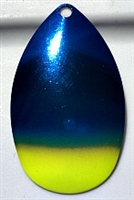 "Size 7 Indiana Series Blade/""Seahawk""--Metallic Blue w/Chartruese Tip/Nickel Back/2 pack"