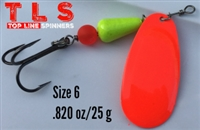 Size 6 Rocket Spinner/Flame w/Chartruese Body/.820 oz../25 g