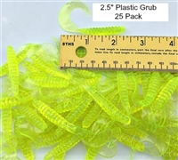 "2.5"" Single Tail Grub/UV Neon Chartruese/25 Pack"