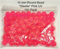 "Size 10mm Round Bead/""Steelie"" Pink UV/100 Pack"