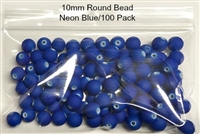 Size 10mm Round Bead/Blaze Coat Neon Blue/100 Pack