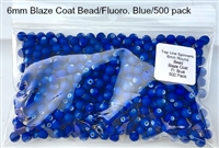 Size 6mm Round Bead/Blaze Coat Neon Blue/500 Pack