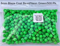 Size 8mm Round Bead/Blaze Coat Neon Green/500 Pack