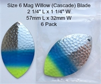 Size 6 FB Series Blade/Hammered Nickel w/Chartruese & Blue Tip/6 Pack