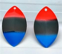 Size 6 FB Series Blade/Fl. Red/Black/Blue Tip--BOTH SIDES/6 Pack