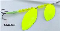 SKS Double Blade Spinner/Double Chartreuse Blades