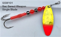 SSW Single Blade Spinner/Chartruese SG w/Flame Red Hot Tip