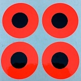 "3/4"" Round Dot/Flame Red Contrast Dot/24 Pack"