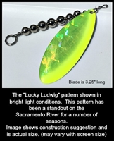 "Size 7 Tide Tamer Series Blade/Holographic Chartruese SG w/Chartreuse Edge/Pearl White Back/AKA ""The Lucky Ludwig""/2 Pack"