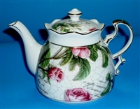 Roses Teapot Fine Porcelain Teapot, Hand Decorated