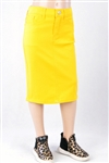 RK-77546K Yellow girls mid length skirt