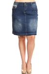 SG-76385X Indigo Wash middle length skirt