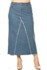 SG-87406X Lt.Indigo long skirt