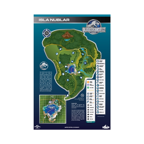 Jurassic World Maps Signs Lithograph Print Set 2016 San Diego