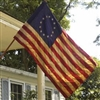 2.5'x4' Tea Dyed Cotton 13-Star Flag W/ Sleeve
