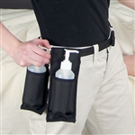 Oil and Lotion Holster holds massage lotion in either single or double bottle design, attaches by a belt at waist.
