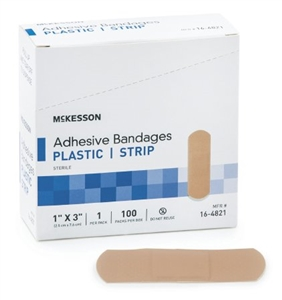 McKesson Rectangle Plastic Adhesive Strip Bandage