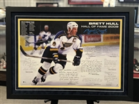 16x24 autographed print by Hockey Great Brett Hull - with quotes from teammates