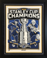 "18x24"" 2019 NHL Stanley Cup Champions double mat & framed  poster"
