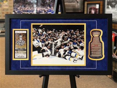 2019 NHL St Louis Blues photo ticket and acrylic Stanley Cup