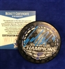 St Louis Blues Sammy Blais autographed Stanley Cup Champions Puck in BLUE