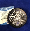 St Louis Blues Sammy Blais autographed Stanley Cup Champions Puck in WHITE paint pen