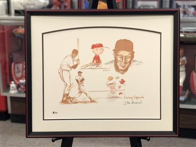 Stan Musial 16X20 Charlie Brown autographed print matted & framed