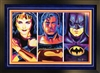 Marvel Super Heroes Batman, Superman, Wonderwoman - autograph 3D print by Steven Walden, triple mat and framed