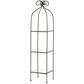 Pictured here is the Scroll Single Width Wrought Iron Standing Shelf with black iron finish and 3 glass shelves.