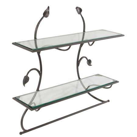 Pictured is the wrought iron Leaf Wall Shelf & Towel Bar from Stone County Ironworks, available with different finishes and shelf options, sold at Timeless Wrought Iron