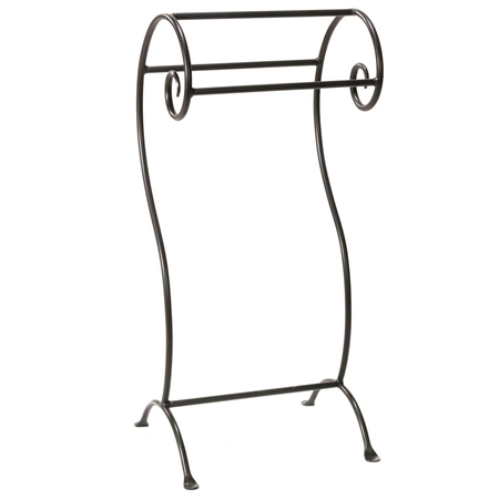 Pictured here is the free standing Waterbury Towel Rack with natural black finish and elegant scroll work for a traditional look and feel.