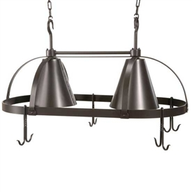 Pictured here is the wrought iron Oval Dutch Lighted Pot Rack with black finish.