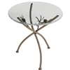 Picture here is our Rustic Pine Iron Accent Table with glass table top and natural bark finish