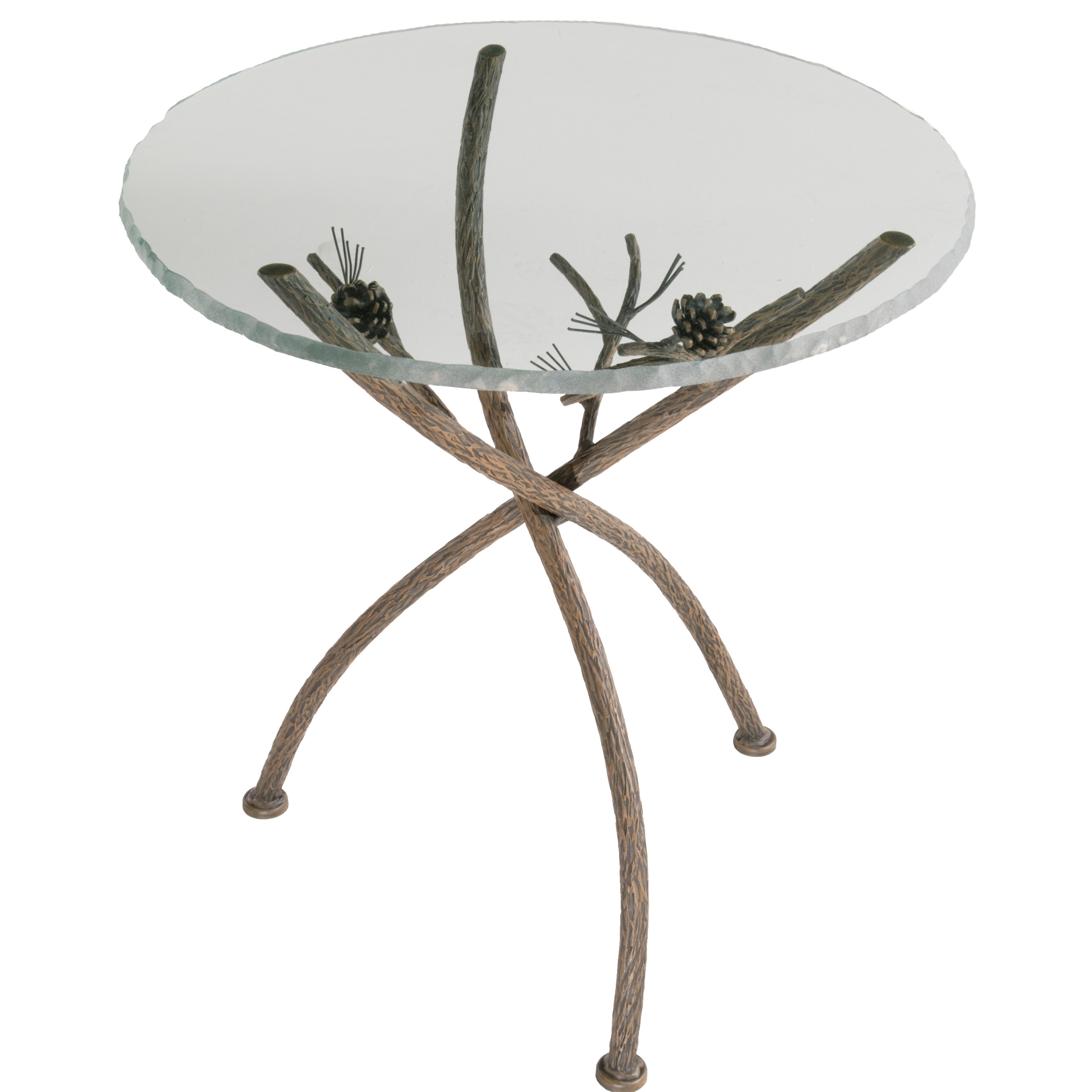 - Wrought Iron Accent Table - Rustic Pine Accent Table