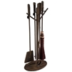 Pictured here is the Rustic Wrought Iron Whisper Creek Fireplace Tool Set that includes, a Log-Tongs, Broom, Fire-Poker, Shovel, and Fireplace Tool Stand. Personalize with custom iron finishes and brooms colors to choose from.
